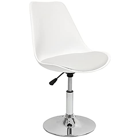 Hartleys Tulip Style Static Chair - Chrome Base / White Seat / Grey (Pelle Reception Nero Sedia)