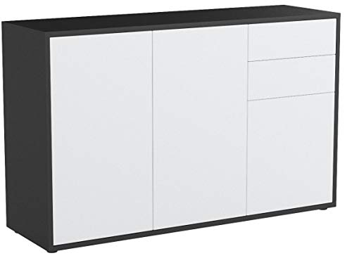 Vladon Kommode Sideboard Ben V3, Korpus in Schwarz matt/Fronten in Weiß matt