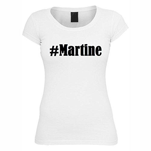 T-Shirt #Martine Hashtag Raute für Damen Herren und Kinder ... in den Farben Schwarz und Weiss Weiß