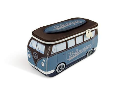 VW Collection by BRISA Kulturbeutel Universaltasche im VW Bus T1 Design aus Neopren, 30 x 14 x 12 cm, Petrol/Braun