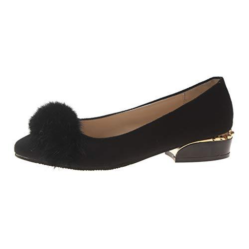 Yvelands Damen Einzelne Schuhe Freizeit Mittlere Dame Schnürschuhe mit flachem Absatz und weicher Unterseite (CN-38,Schwarz)