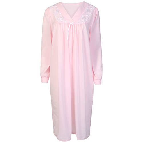 Ladies Long Sleeved Brushed Polyester Nightdress. Pink Blue or Ivory Sizes 12/14 16/18 20/22 24/26 - 31V5rXYyk5L - Ladies Long Sleeved Brushed Polyester Nightdress. Pink Blue or Ivory Sizes 12/14 16/18 20/22 24/26