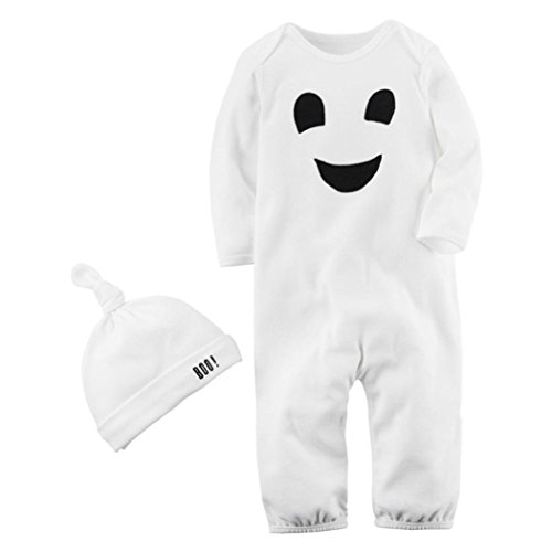 Baby Jungen Mädchen Halloween Kleidung Outfits mingfa Infant Kleinkind Long Sleeve Cartoon Print Jumpsuit Strampler + Mütze Set 2, 6M, weiß, 1