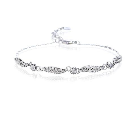 Slim Flat Chain & Swarovski Crystals Elements14K Gold & Silver Rhodium Bracelet - Clear, Janeo Bangles & Bracelets