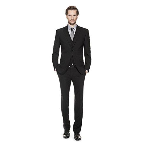 Benvenuto Black - Regular Fit - Herren Anzug (Modell: 20002, 20084, 60211) aus Super Schurwolle (Artikel: 20097), Größe:52;Farbe:Schwarz (4000)
