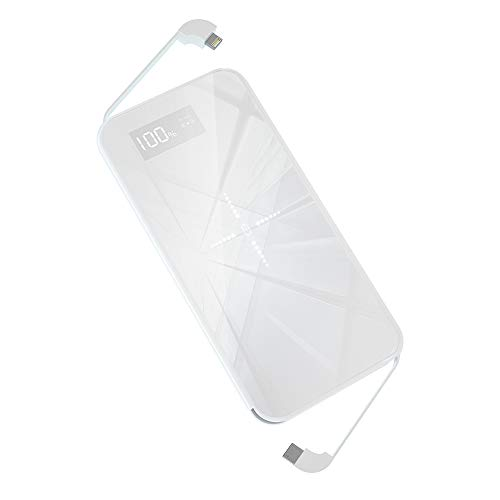 Powerbank 10000 mah caricatore wireless pannello di vetro power bank qi caricabatterie portatile cavo di ricarica integrato per iphone xs/xr/x/8,huawei p20/p30,samsung s10/s9(bianco)