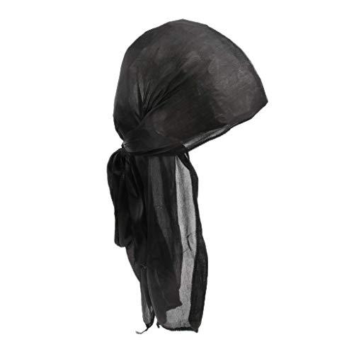 Bocotoer Piratenkappe aus Seide, Muslimisches Turban, Unisex, für Herren und Damen, mit langem Schwanz, Schwarz -