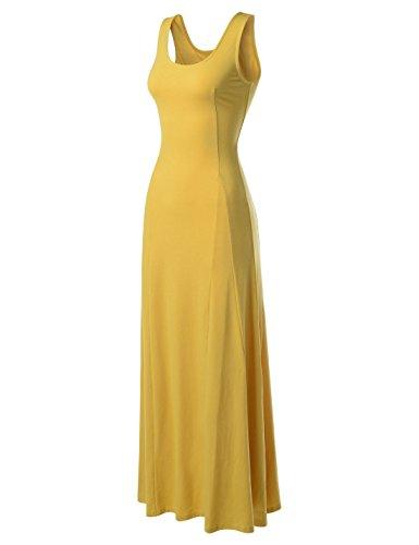 Nearkin Damen Kleid, Durchgehend Gr. Medium, NKNKWNLD642-MUSTARD (Kleid Silk Tank)