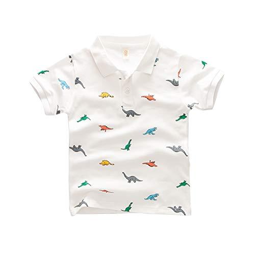 Hongyuangl Kinder Junge Polo Shirt Dinosaurier Druck T-Shirt für lässig, Schule Baumwolle Sommer Outfits -