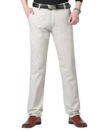 CuteRose Men Flat Front Classic-Fit Business Straight No Iron Dress Pant Off-White 32 Free Flat Front Pant