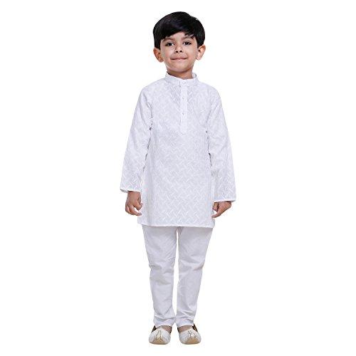 Littly Ethnic Wear Kids Cotton Chikan Kurta Pyjama Set For Baby Boys...