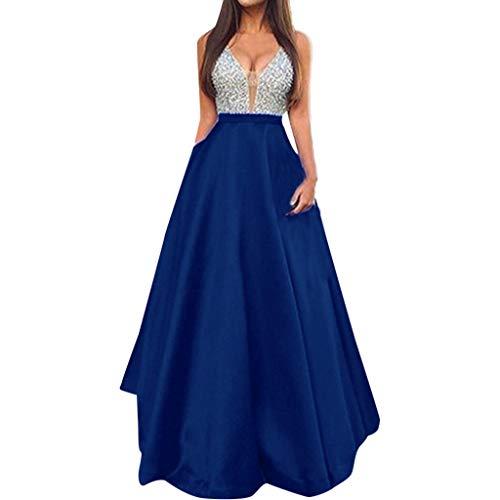 feiXIANG Damen Elegante Partykleid brautkleid Abendkleid v-Ausschnitt ärmelloses schlank Lange Maxi...