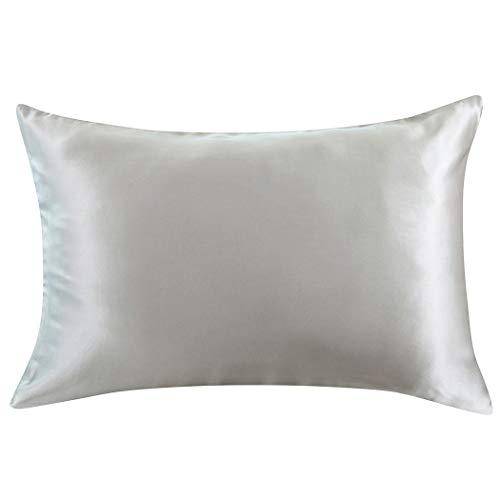 ZIMASILK Kissenbezug aus 100% Seide für Haare und Haut. Doppelseitige 19 Momme Reine Maulbeerseide Kissenhülle mit Reißverschluss, 1 Stück.(40x80 cm, Silber-Grau) -