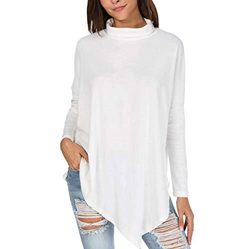 Damen Langarmshirt mit Stehkragen Rovinci Einfarbig Casual Tunkia Langarm T-Shirt Longshirt Asymmetrisch Oberteil Tops Bluse Rollkragenshirt Sweatshirt Irregulär Shirt Elegant Jumper Pullover