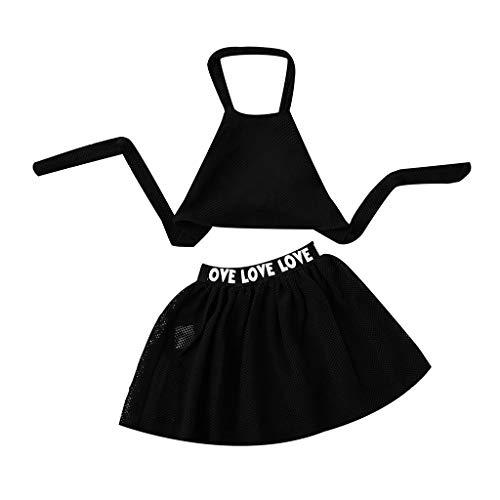 Sommer Mädchen Kleidung Set Kurzer Rock Volltonfarbe Sling Tops + Brief Rock Outfits Sets Kleinkind Kinder Vatertag Mutters Outfits Kleidung