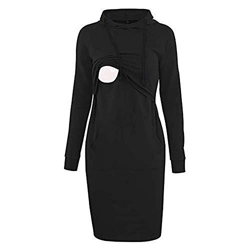 Millenniums Sweats Robe à Capuche Femme Enceinte Allaitement Mi Longue Pull Streetwear Spotlight Chic Cool Street Sweat Mode Femme Sweat-Shirt Survêtement,Grande Taille S-2XL (Noir, L,38)