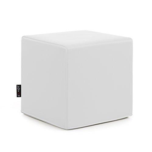 Cubo pouf in ecopelle bianco design mis. 45x45x45 sfoderabile disponibile in 10 colori sfoderabili struttura interna in poliuretano espanso da seduta