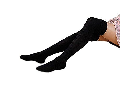 ehohe Socken, Tukistore Winter warme über Knie Beinwärmer extra lange Oberschenkel hohe Socken Leggings, Schwarz, free size ()
