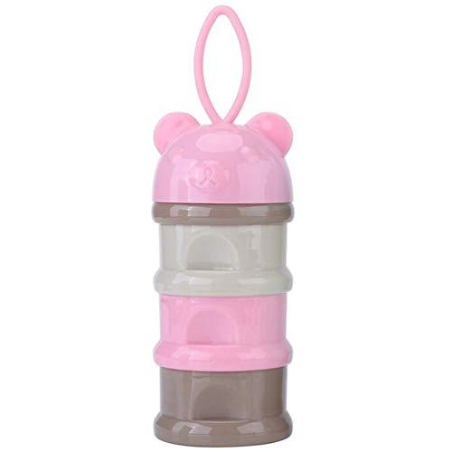 Vianber Bebé Envase de leche de alimentación Dispensador de Fórmula Infantil Snacks de Tres Parrillas Cajas de Suministros de Dulces con Arnés Portátil - 3 Alimentaciones, sin Fugas de Polvo (Rosado)