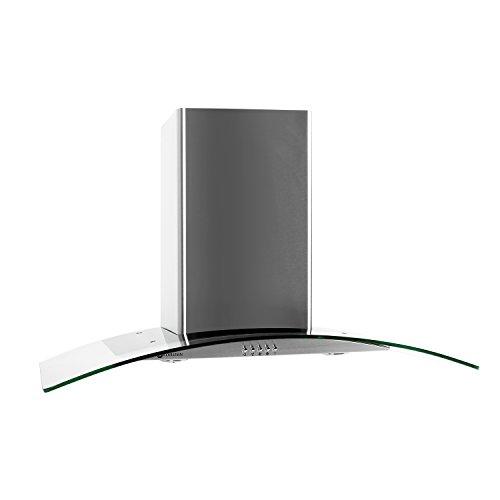Klarstein GL90WS Hotte aspirante murale (design moderne, 90cm, capacité d'extraction maximale de 400m³/h, 2 filtres à graisse remplaçable) - transparent