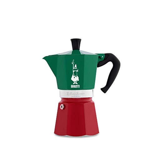 Bialetti 8006363018944 Moka Express Italia Collection (Tricolore), Caffettiera 6 Tazze, Alluminio