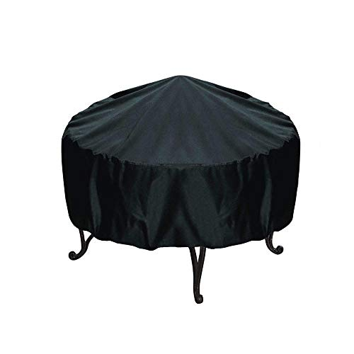 GIlH 77x58cm Patio Round Fire Pit Cover Waterproof UV Rain Snow Outdoor Protector Grill BBQ Cover Black Rain Protector