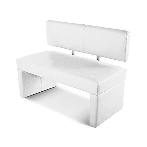 Küche Sitzbank (SAM® Esszimmer Sitzbank Selena, 100 cm, in weiss, Sitzbank mit Rückenlehne aus Samolux®-Bezug, angenehmer Sitzkomfort, frei im Raum aufstellbare Bank)