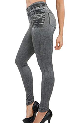 Zilcremo Pantalón Legging Denim Slim Fit de mujer Otoño Pantalones pitillo largos Grey XXL
