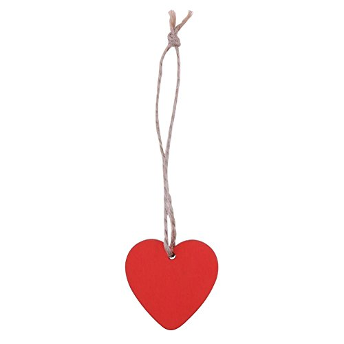 Demiawaking 10Pcs Wooden Heart Embellishments 40mm Craft Shapes Hanging DIY Ornaments Pendant with Natural Twine for Party Bedroom Home Decoration (Red)