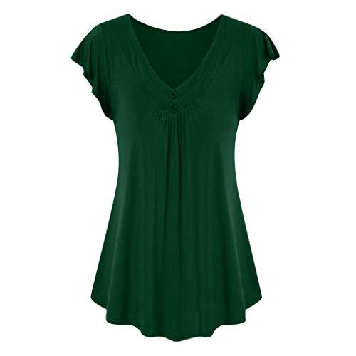 LOPILY Sommer T-Shirt Kurzarmshirt Damen Elegante Übergröße Kurzarm Gekräuselte Geraffte Shirts Blusen Tops Sommer Lässige Unregelmäßiger Saum Falten Bluse Oberteil(X1-Armeegrün,XL)