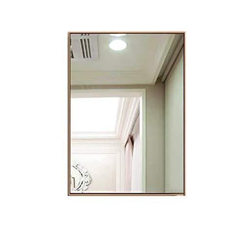 Gcgg Metall Gerahmter Hängender Spiegel, HD Edelstahl-Dekor Wandspiegel Mode Anzug für Wohnzimmer Schlafzimmer Badezimmer Schminkspiegel (Color : Brass, Size : 50x70cm)