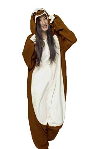 dressfan Faultier Onesie Animal Overall Faultier Schlafanzug Pyjamas Unisex Polar Fleece ()