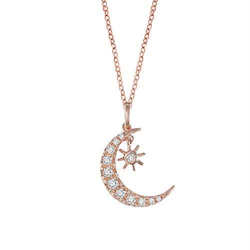 XMYL Damen Kette Mode Rotgold Sonne Mond Halskette Kupfer Zirkon Schlüsselbeinkette Muttertag, Valentinstag, Geburtstag