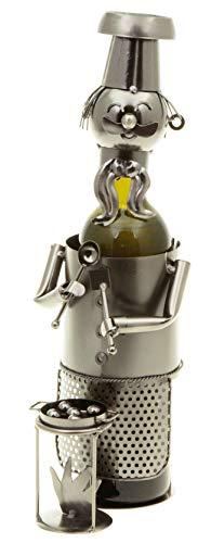 hLine Flaschenhalter Grill-Meister Wein Bier Flaschenständer Geschenk Griller