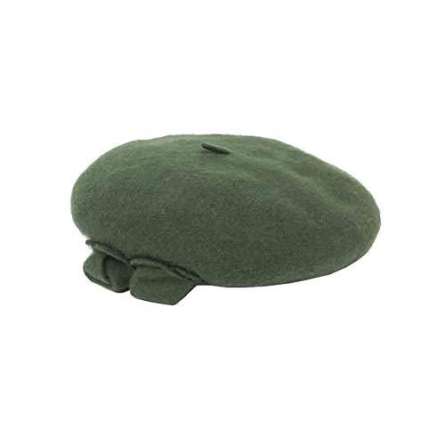 Sunny französisches Barett - Blumen-Entwurfs-Normallack-Frauen Herbst Und Winter Beanie-Kappen-Hut,Rot (Farbe : Olive Green) - Cabbie Kappe Hut Olive