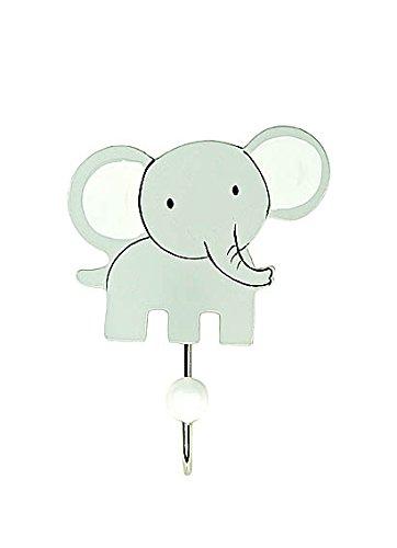 Kinder oder Baby Wandhaken Garderobenhaken Kleiderhaken Holz Safari Grauer Elefant für Mädchen und Jungen