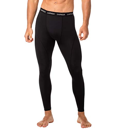 LAPASA Herren Fitness Leggings Kompressionshose Lang Tight Mesh UPF 50+ M18 (Schwarz+Schwarz(Base Layer), XL (Taille 101-106 cm)) -