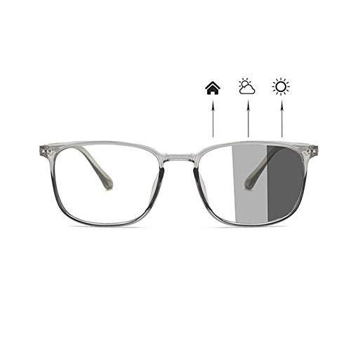 Unisex Photochrome Sonnenbrille Computer Blue Light Blocking Brille für Männer Frauen Reduzieren Ermüdung der Augen Outdoor Anti Glare Filter Block UV, Transluzent Square Nerd Brillengestell,TR90Frame