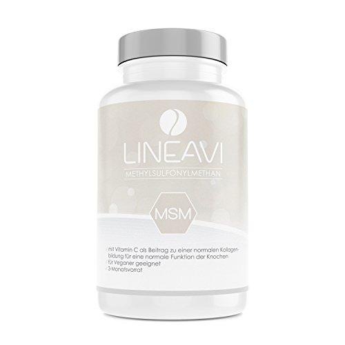 LINEAVI MSM | 1200mg Methylsulfonylmethan (99,9% rein) | mit 24mg Vitamin C | unterstützt die normale Funktion der Knochen und Knorpel | in Deutschland hergestellt | 180 Kapseln (3-Monatsvorrat)