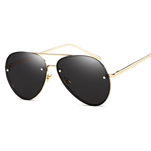 Aprigy Mode-Objektiv Spiegel Luftfahrt-Sonnenbrille-Frauen Stilvolle Pilot Sonnenbrillen Dame Men Metallrahmen Brillen High Quality [Gold Schwarz]