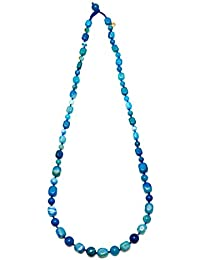 Lola Rose Ipanema Long Tumble Santorini Stripe Agate Necklace of Length 88cm