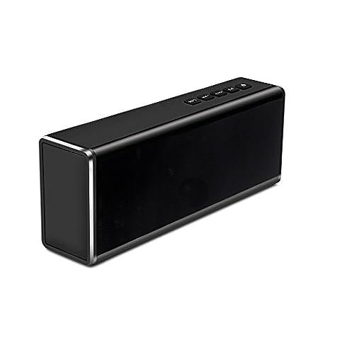 Wireless Bluetooth Lautsprecher, EONSMN 20W Metall drahtloser Doppeltes Ton Kanal Subwoofer Bluetooth Lautsprecher u. Eingebauter Mic, Stereolithographie HIFI Klangqualität, Unterstützung TF Karte, handfree und U Scheibe (Black)