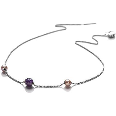 Miluna - Collana Argento, Diamanti, Perle, Ametista, cod. PCL4627AG
