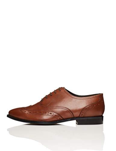 Marca Amazon - find. Smart Zapatos de Cordones Brogue, Marrón Brandy, 39 EU