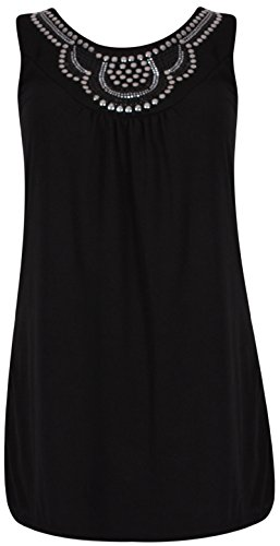 Femmes Sans Manches Femme Extensible Rond Encolure Ronde perlé Clou Gilet Long Tunique Haut T-Shirt Grande Taille Noir