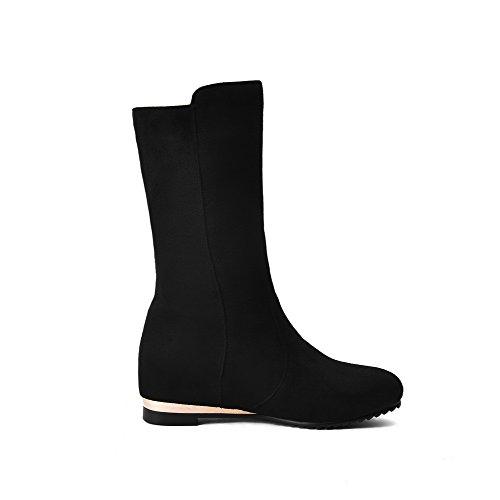 AgooLar Damen Eingelegt Niedriger Absatz Rund Zehe Ziehen auf Stiefel mit Anhänger, Braun, 35