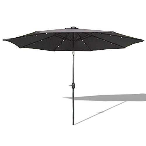 HENGMEI 300cm ALU Sonnenschirm Gartenschirm Terrassenschirm Marktschirm Ampelschirm Strandschirm Kurbelschirm mit UV Schutz 40+, Solar LED (300cm, Dunkelgrau) -