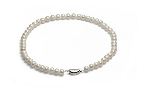 Schmuckwilly echte Perlen Süßwasserperlen Perlenkette weiß mit 925 sterling Silber Verschluß 45cm 9-10mm dsk3006-45