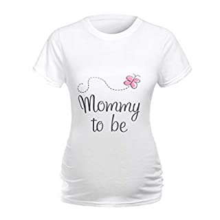 AG&T New Women Maternity Short Sleeve Cotton Blends O-Neck Pregnancy Clothes with Print Mommy to be White