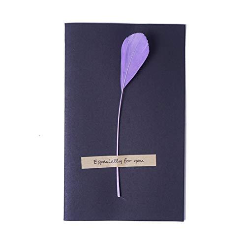 ZHOUBIN Carta a forma di fiore reale delicata fatta a mano San Valentino romantico Compleanno genitori del ringraziamento Festività anniversario Universale, piume di lavanda lunga coda 4 fogli set